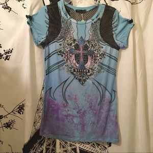 Angels & Diamonds Bling Graphic Tee W/ Lace Panel